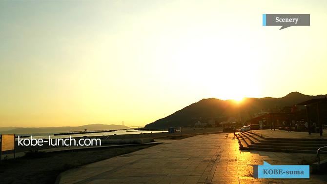 須磨海岸の夕暮れ